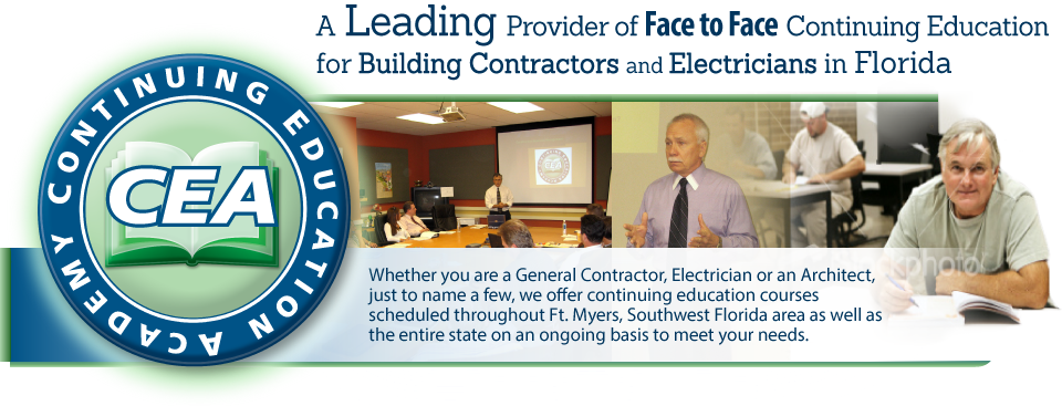 A Leading Provider of Face to Face Continuing Education for Building Contractors and Electricians in Florida